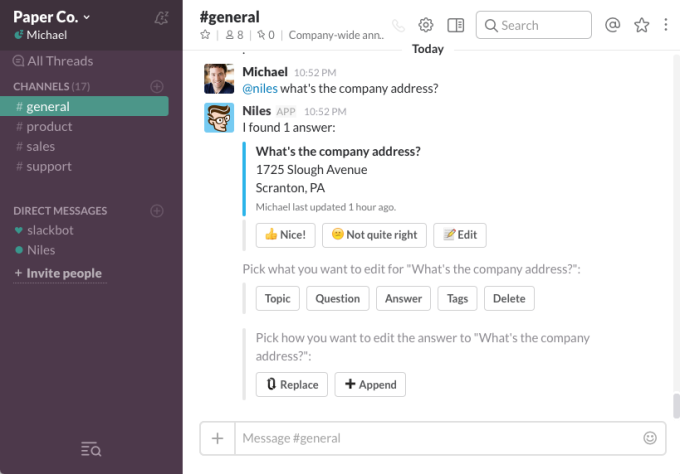 Niles is a Slack bot that learns your team's questions and answers