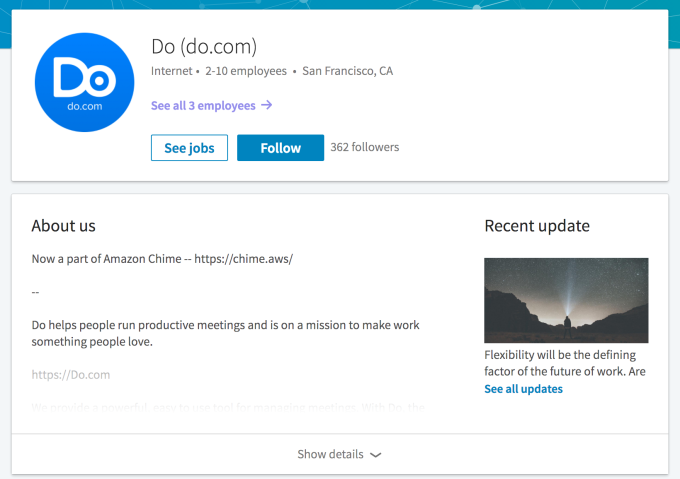 Amazon's AWS acquired meeting productivity startup Do to