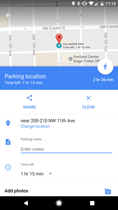 Google Maps lets you record your parking location, time left