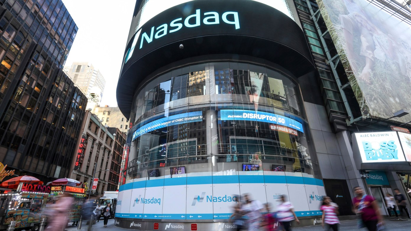 View of the Nasdaq Stock Market in New York City