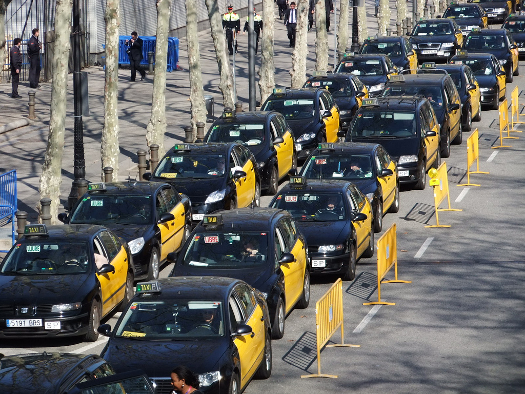 Spain S Taxi Drivers Stage Another Anti Uber Strike Techcrunch