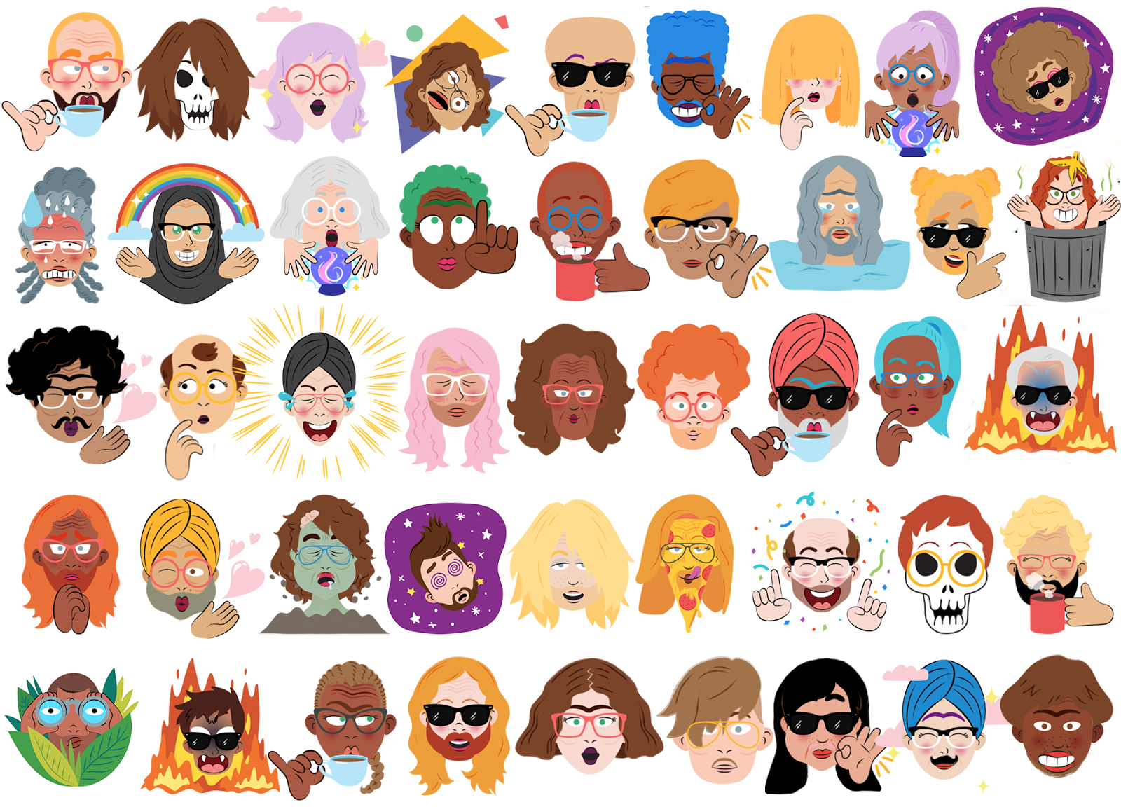 google s neural network generated custom face stickers are like bitmoji that aren t horrible. Black Bedroom Furniture Sets. Home Design Ideas