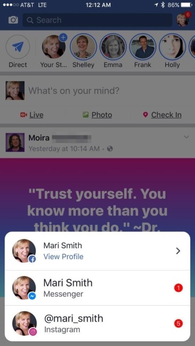 Facebook, Messenger and Instagram unite with cross-app notifications