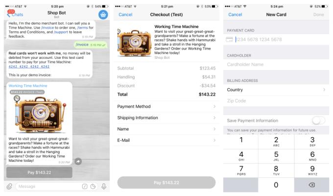 A Sample Of Payments Through A Telegram Chatbot