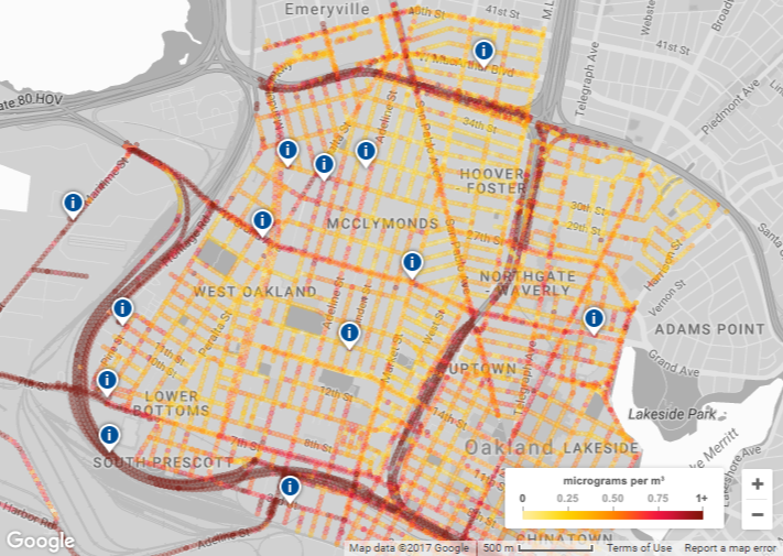 google maps can tell you how bad the pollution is in oakland block by block