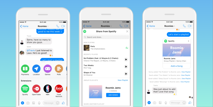 Spotify now lets you build playlists with friends inside Messenger ...