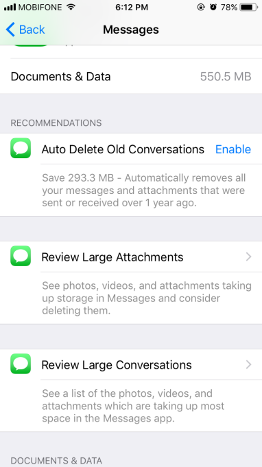 Ios 11 will help you free up storage on your iphone through you can even configure your iphone to automatically delete old imessage conversations ccuart Image collections