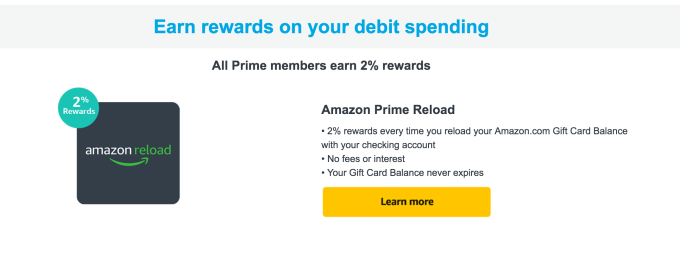 Amazon Launches Prime Reload Offering 2 Back On Purchases Funded
