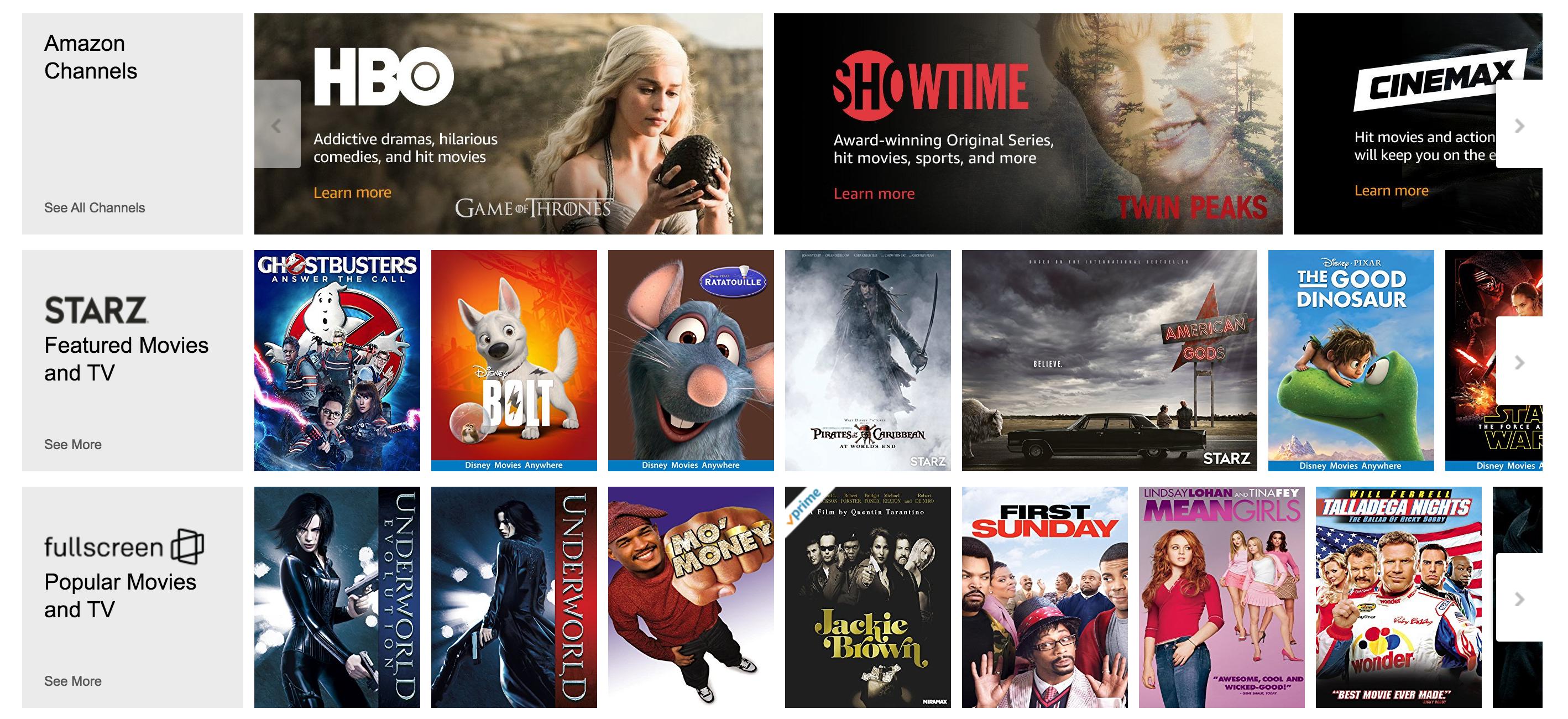 Amazon Prime Starz And Showtime