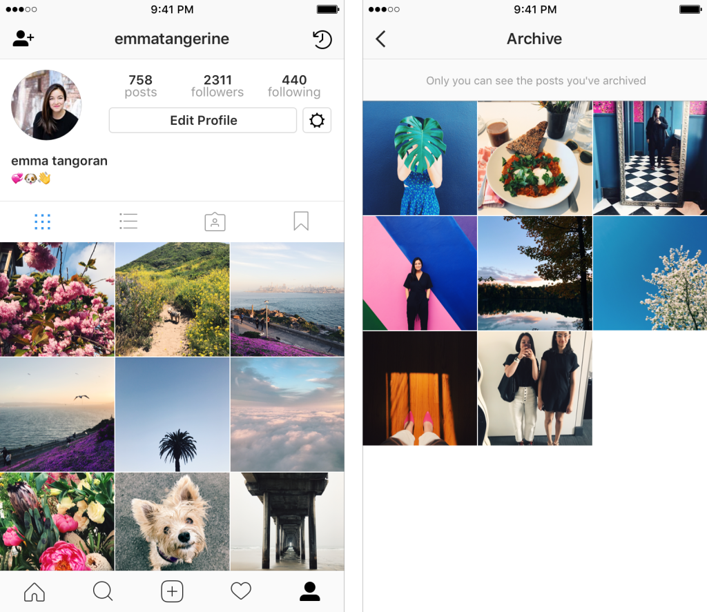 How can i see my archived photos on instagram