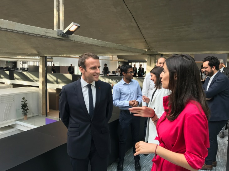 A Walk Around Station F With Emmanuel Macron Techcrunch