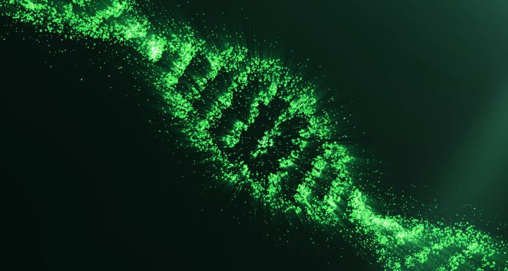 Concept of biochemistry with dna molecule on green background, Genetic engineering scientific concept, green tint. 3D rendering