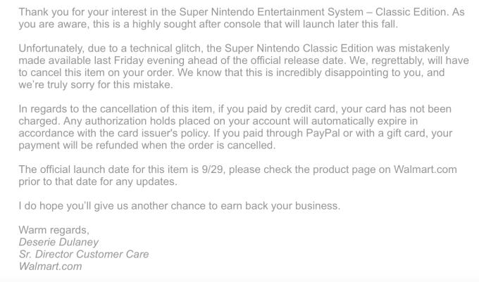 Walmart cancels SNES Classic pre-orders, says 'technical