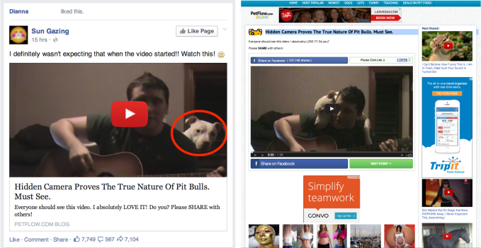 Fake video play buttons in News Feed link previews like the one on the left  can mislead people into clicking out to ad-covered sites as shown on the  right.