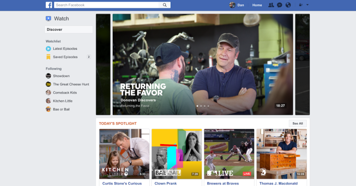 Facebook launches Watch tab of original video shows | TechCrunch