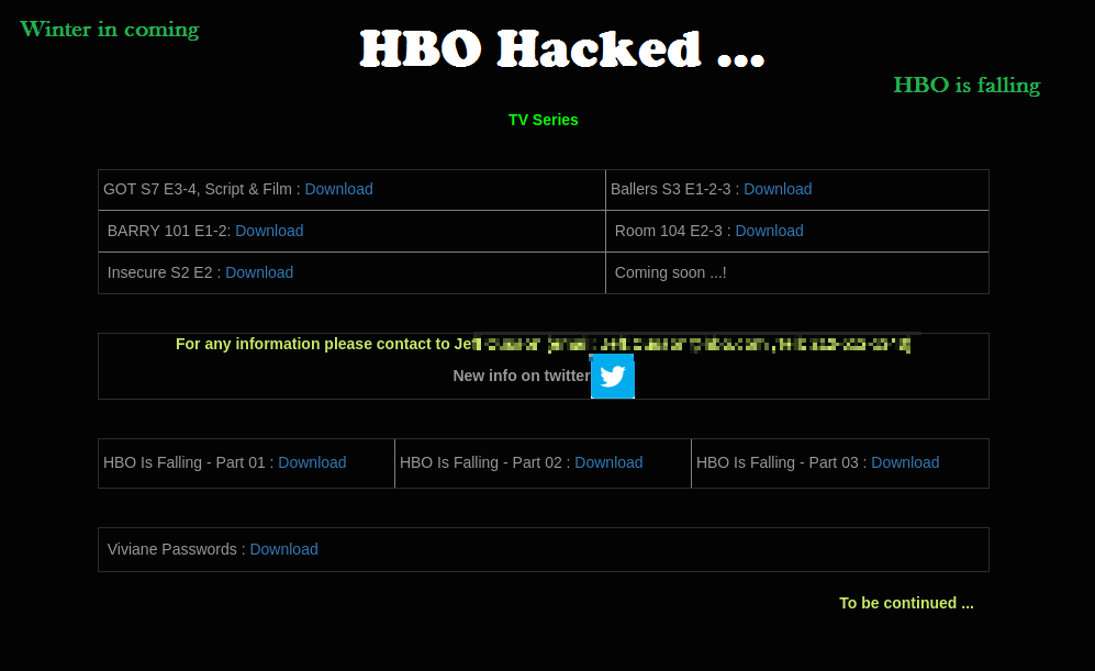 Merveilleux ... Handful Of Game Of Thrones Episodes; A DMCA Takedown Notice Issued On  Behalf Of The Company Says Hackers Stole U201cthousands Of Home Box Office (HBO)  Int.