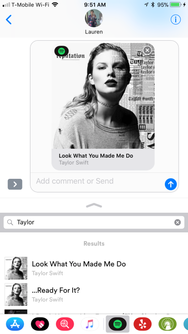 Spotify launches an iMessage app for texting songs to