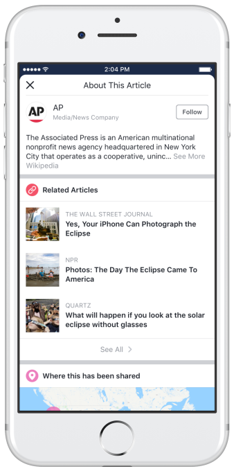Facebook tries fighting fake news with publisher info button