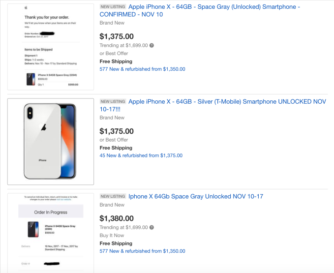 iPhone X pre-orders are being scalped on eBay for $1,500, on