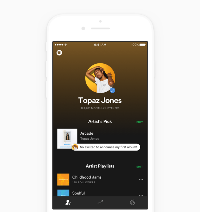 Spotify launches an app for artists with real-time streaming