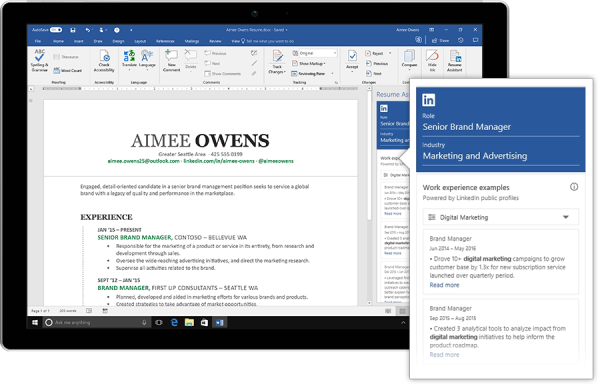 LinkedIn and Microsoft team up for a resume building assistant in