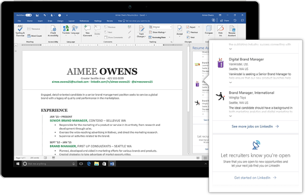 LinkedIn and Microsoft team up for a resume building