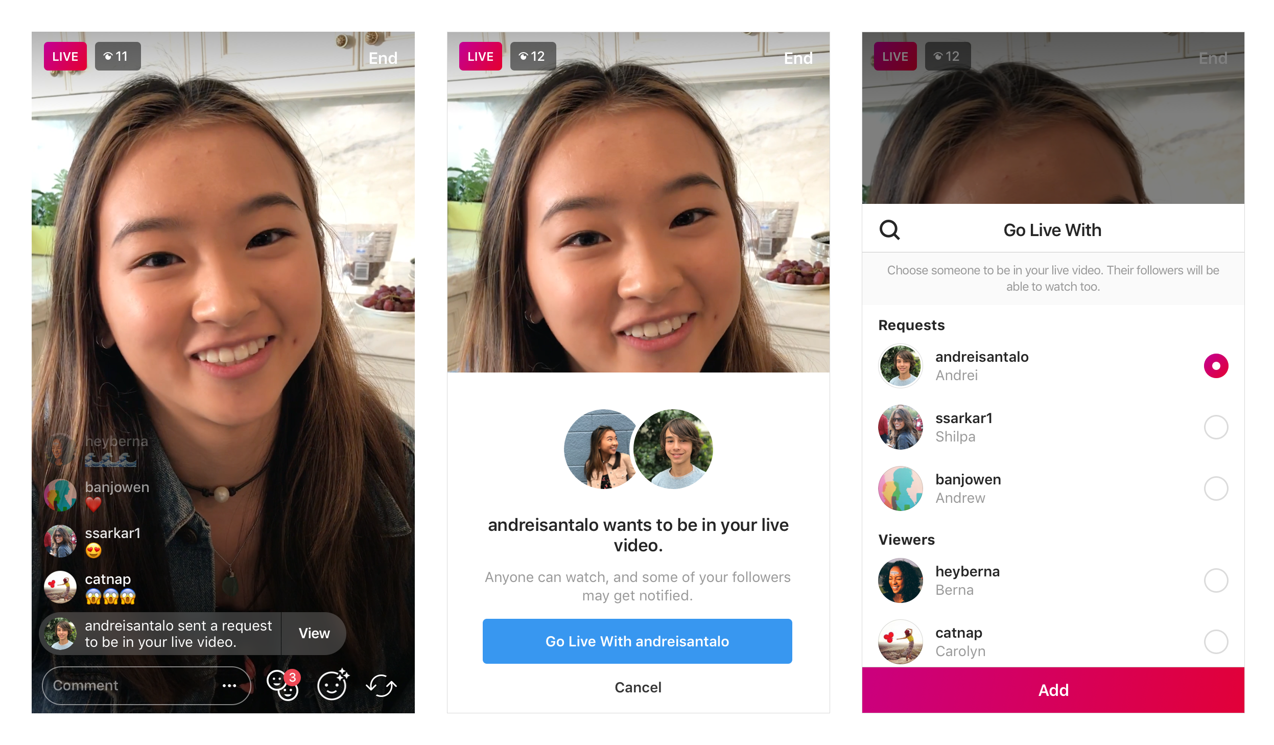 You can now request to join someone's Instagram live stream | TechCrunch