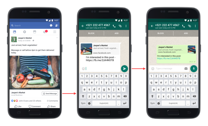 Click-to-WhatsApp messaging buttons are now rolling out in Facebook