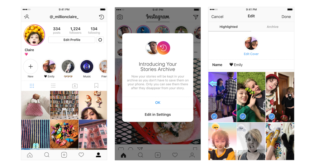 Instagram lets you Archive and Highlight your favorite
