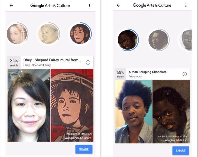 google arts and culture selfie