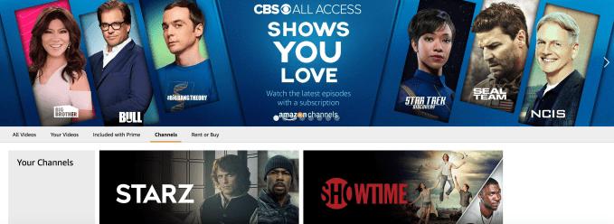 Amazon's a la carte TV service, Amazon Channels, adds CBS