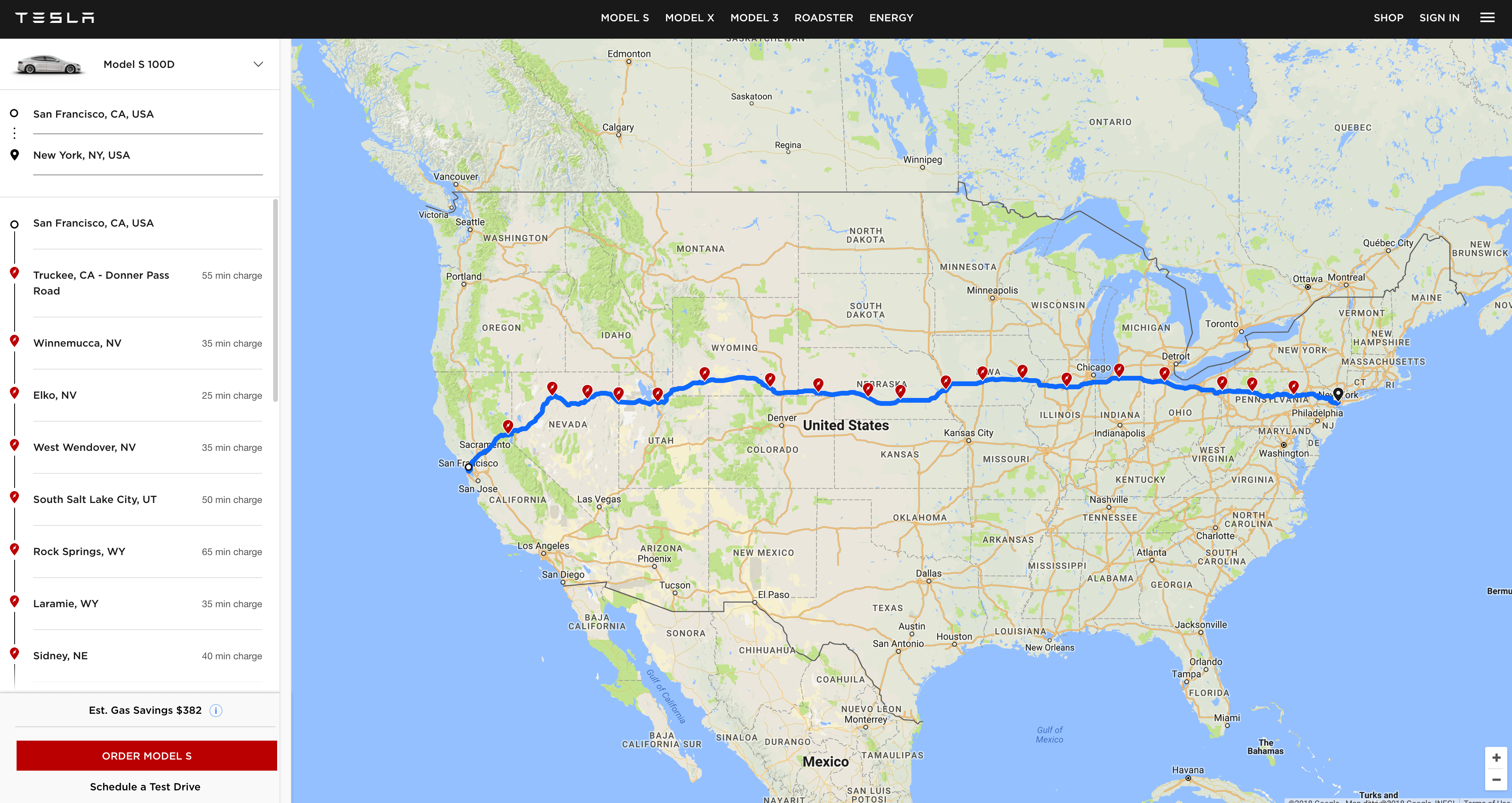 Tesla launches a web based version of its in car trip planning tool the trip planner include a map with charger locations highlighted in red and will tell you the total estimated trip time for your travel too publicscrutiny Images