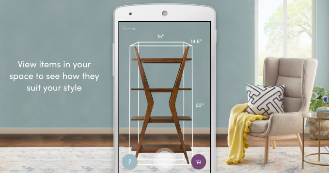 Wayfair s android app now lets you shop for furniture for Furniture placement app