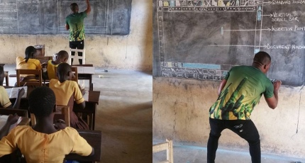 Teacher in Ghana who used blackboard to explain computers