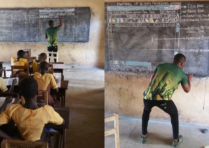 teacher in ghana who used blackboard to explain computers gets some