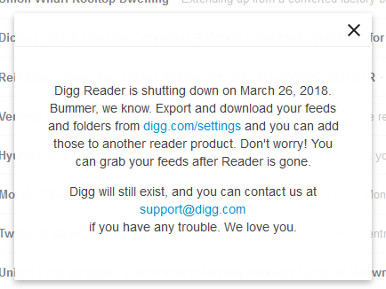 Alas, Digg Reader is shutting down at the end of March