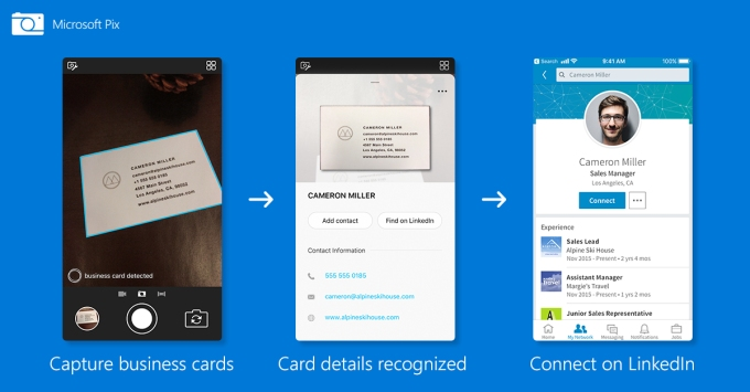 Microsoft pix can scan business cards to your contacts find people the pix update is just one of several ways microsoft has integrated with linkedin since acquiring the company for 262 billion in 2016 reheart