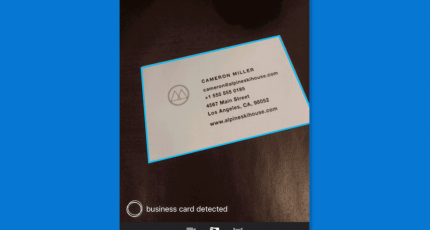 Microsoft Pix can scan business cards to your contacts, find