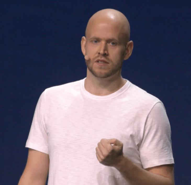 Spotify CEO Daniel Ek giving the company's Investor Day presentation