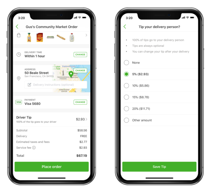 Instacart now suggests 5% tip default