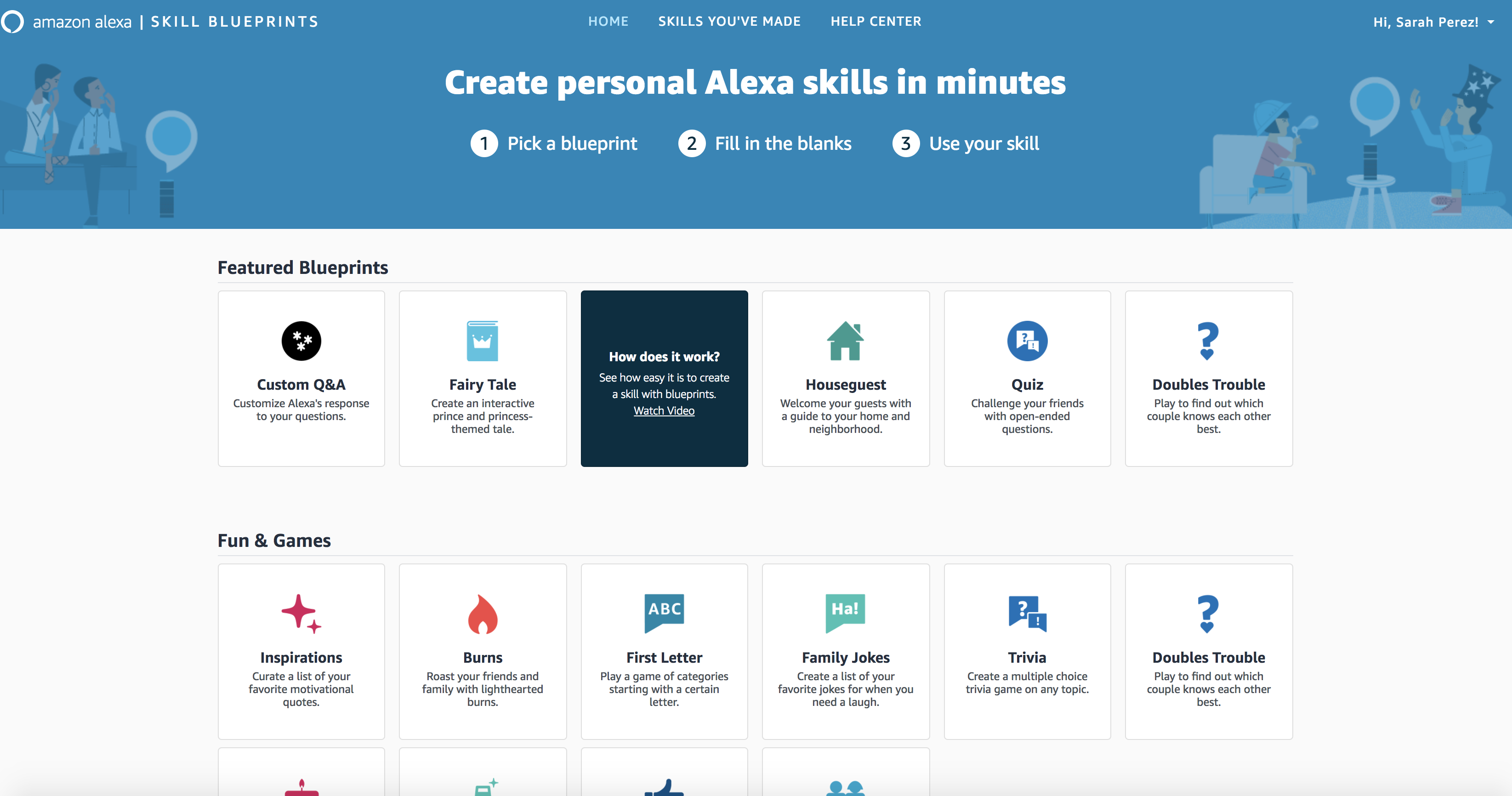 Alexa Blueprints allow you to create simple Skills without coding