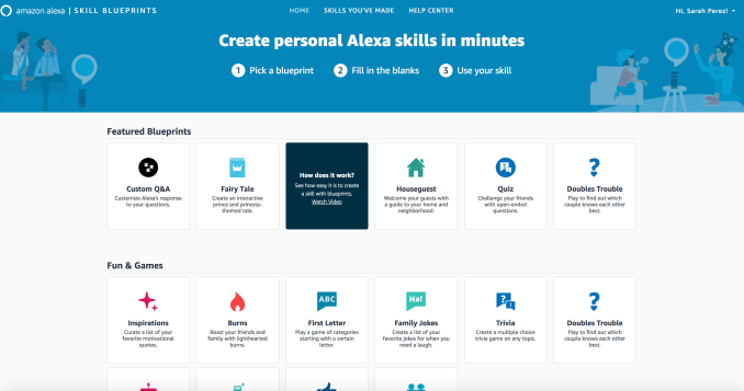 To build your own skill or custom Alexa response, users will visit the  website blueprints.amazon.com and select a template. 193bfa66c5c2