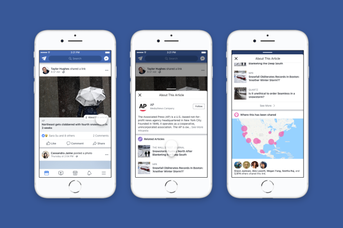 Facebook fights fake news with author info, rolls out publisher context