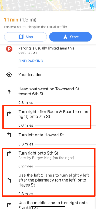 google maps to drivers turn right at the burger king techcrunch