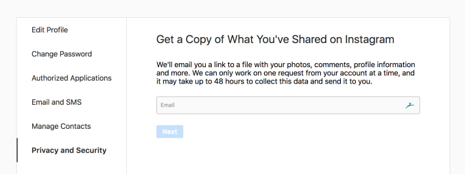 "Instagram launches ""Data Download"" tool to let you leave"