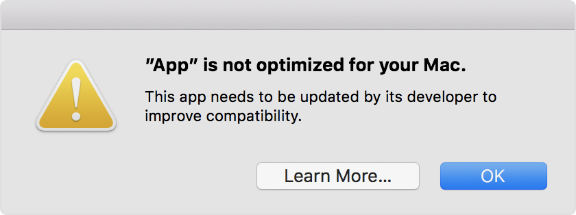 Apple starting to alert users that it will end 32-bit app support on the Mac