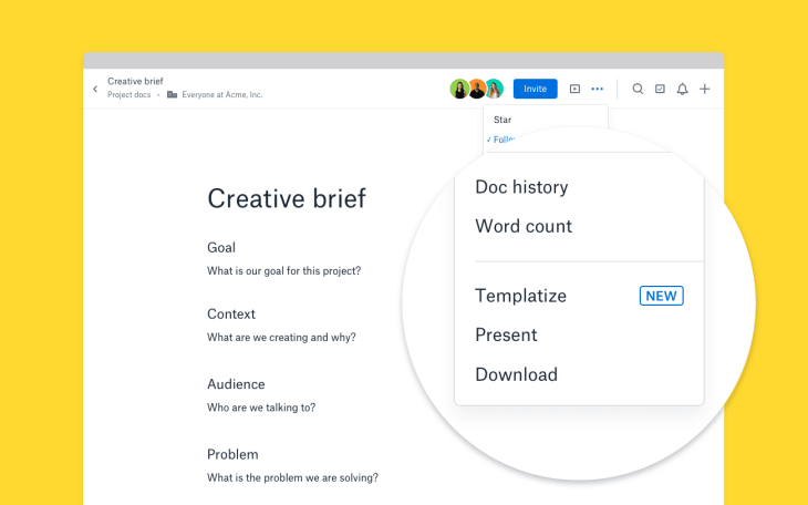 dropbox rolls out a templates tool for its paper online document