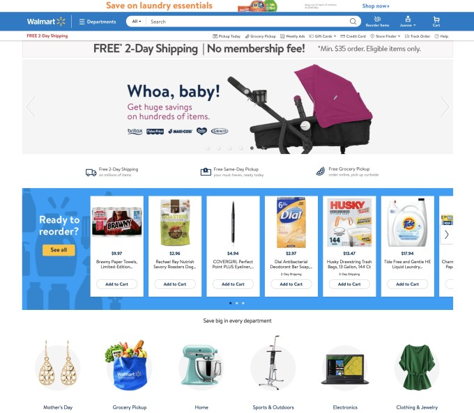 Walmart to launch a more personalized redesigned website in may customers will also be able to see what services are available in their area like walmarts online grocery along with order status features fandeluxe Image collections