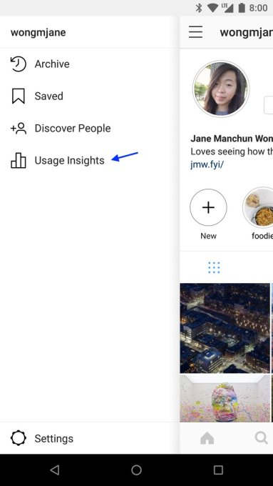 "Instagram has an unlaunched ""time spent"" Usage Insights dashboard"