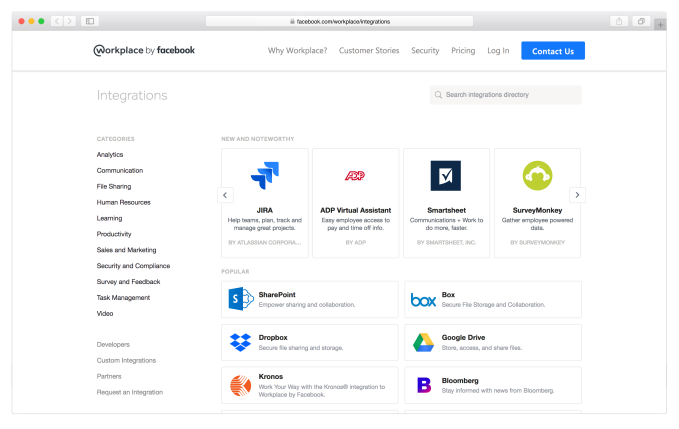 Workplace, Facebook's enterprise edition, now has 52 SaaS apps and bots, opens up for more integrations
